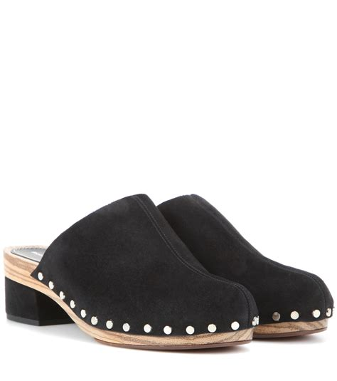 suede clogs for proenza schouler suede clogs in black lyst