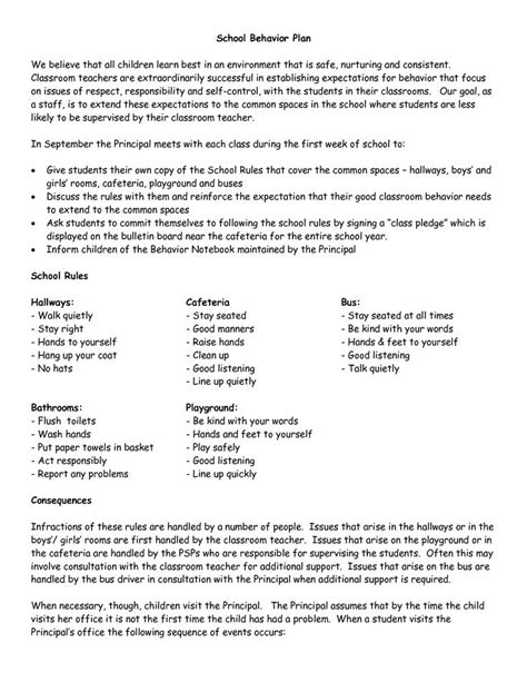Parent Letter Behavior Plan 25 Best Ideas About School Discipline On Behavior Management Plans Middle School