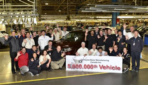 Www Toyota Sa Toyota S Ontario Operation To Build 5 Millionth Vehicle In
