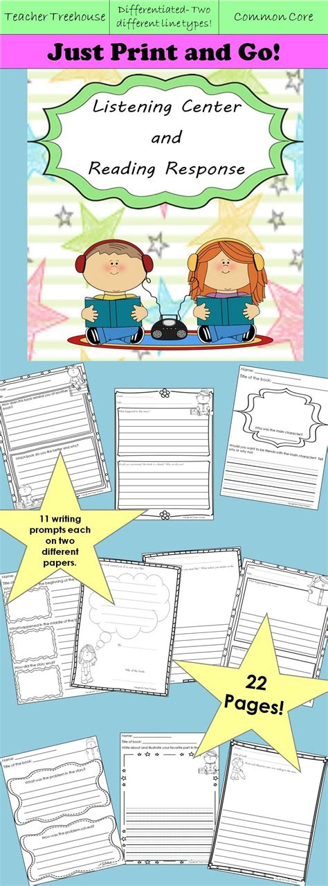 setting a purpose for reading worksheet listening center and reading response worksheets
