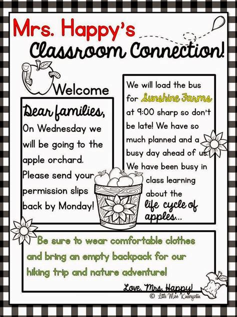 Little Miss Kindergarten Lessons From The Little Red Schoolhouse Take A Bite Out Of Teacher Preschool Weekly Newsletter Template