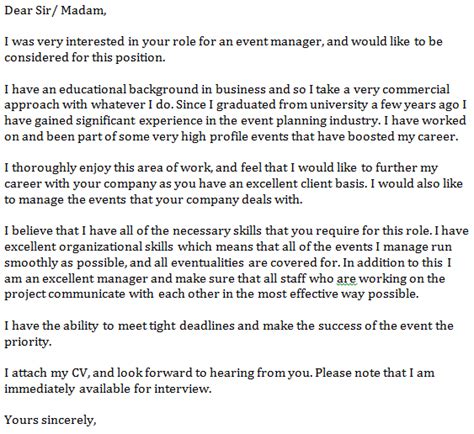 Business Letter For Event Management Event Manager Cover Letter Exle Learnist Org