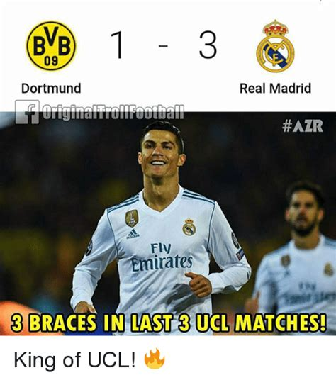 Real Madrid 09 bvb 09 dortmund real madrid azr fly emirates 3 braces in last 3 ucl matches king of ucl
