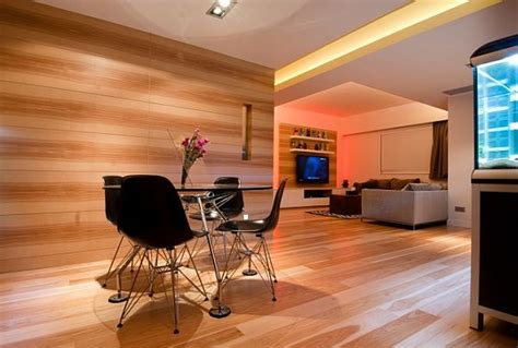 Wooden Apartment In Hong Kong contemporary wooden paneling apartment in hong kong