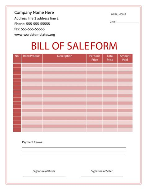 46 fee printable bill of sale templates car boat gun