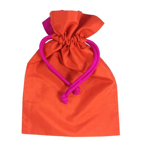 drawstring gift bags orange thai taffeta silk drawstring gift bag