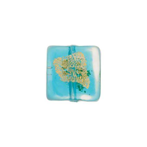 P Square Tosca murano glass bead aqua tosca square gold splashes 12mm
