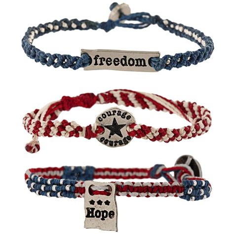 courage freedom woven bracelets set of 3 the