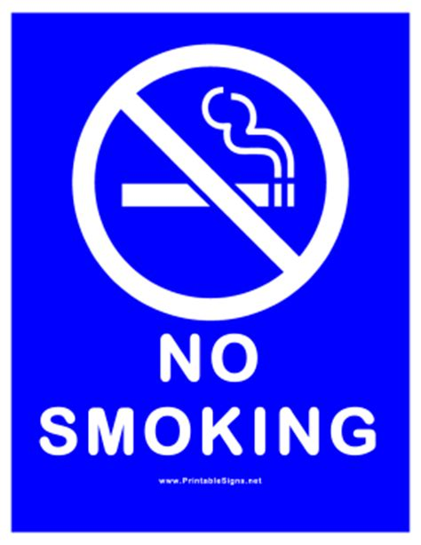 no smoking sign blue printable no smoking all blue sign