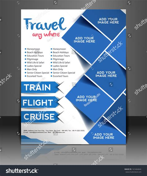 Vector Travel Center Brochure Flyer Magazine Stock Vector 141464644 Shutterstock Travel Template
