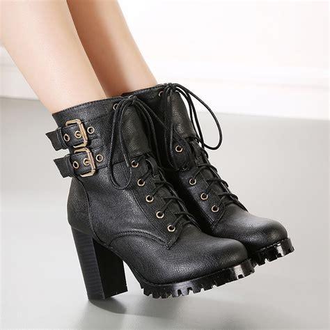 combat boot heels womens combat buckle decor ankle boots