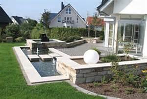Garten Steinmauer Terrasse Garten Wasserbecken Homeandgarden