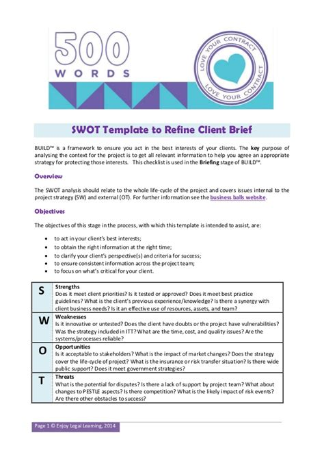 Analysis Briefformat Swot Template For Construction Projects