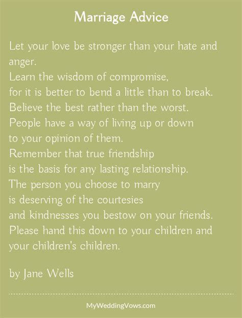 Wedding Advice Poem marriage advice wisdom marriage advice and advice