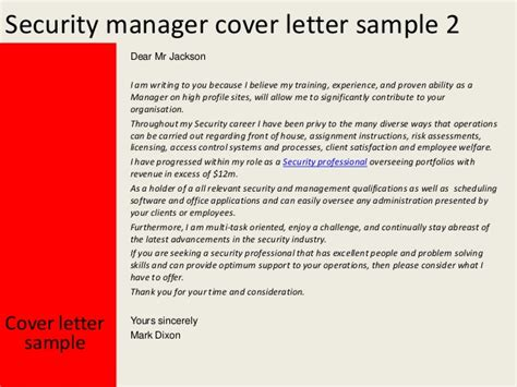 security officer cover letter exles security manager cover letter