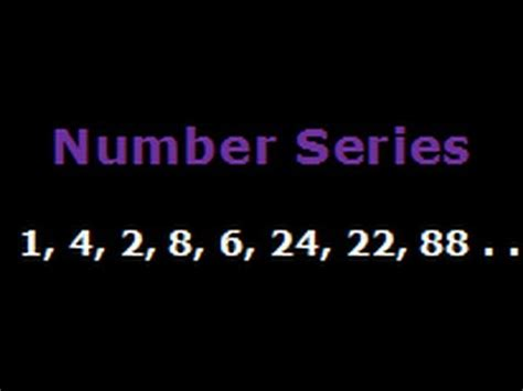 number pattern youtube recognise the pattern in number series 1 4 2 8 6 24