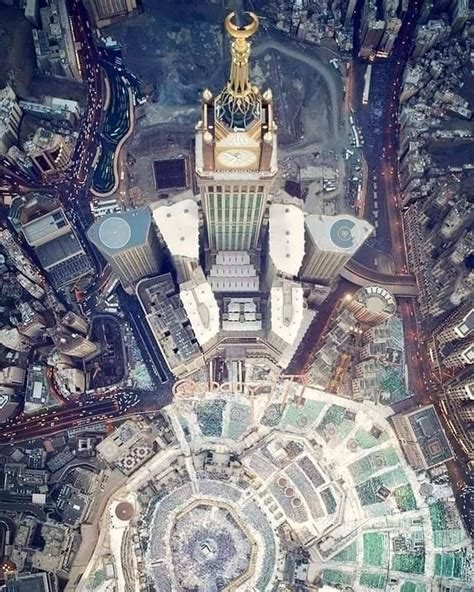beautiful top view   kaaba makkah royal clock tower