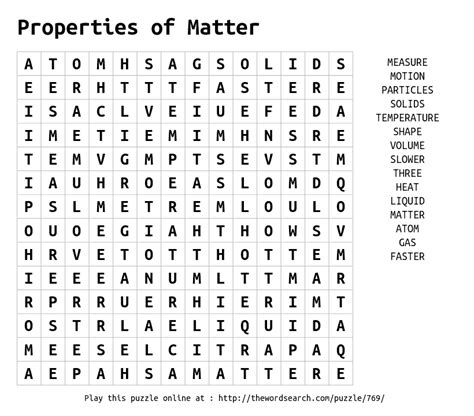 printable word search on matter download word search on properties of matter