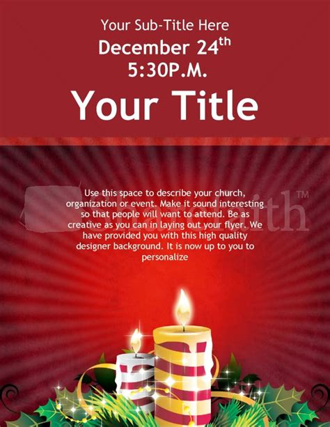 Christmas Candles Flyer Template Template Flyer Templates Caroling Flyer Template
