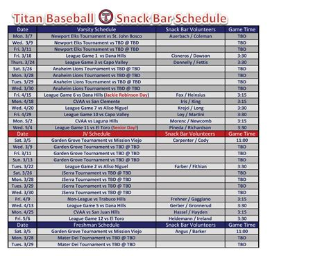 baseball 2015 schedule excel autos post