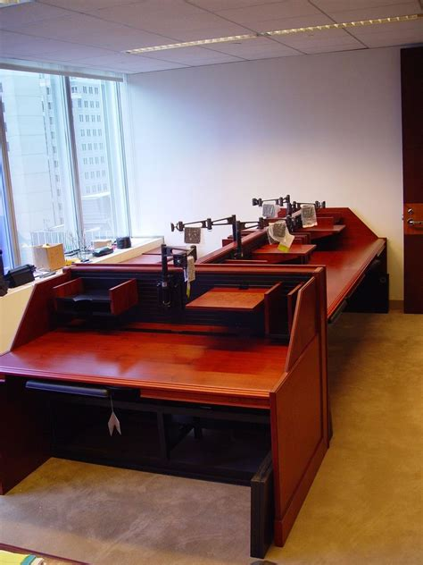 crafted custom made narrow line trading desk by r j