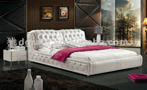 2012 new design style bed with thin genuine leather