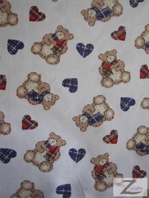 teddy print poly cotton fabric 100 cotton fabric