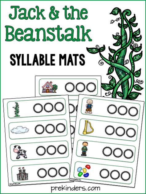 kindergarten activities jack and the beanstalk jack and the beanstalk syllable activity prekinders