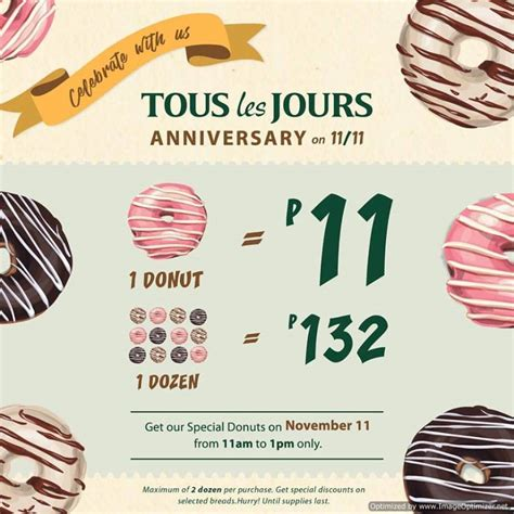 Tous Promo special donuts for php11 at tous les jours anniversary