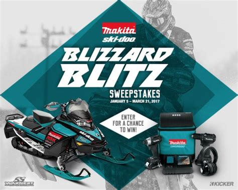 Snowmobile Sweepstakes - ski doo snowmobiles makita tools kicker speakers team up for blizzard blitz