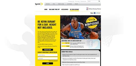 Sweepstakes One Time Entry - sprint kevin durant for a day sweepstakes