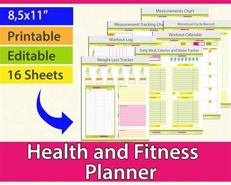 printable food and exercise planner fitness planner workout planner weight loss journal weight