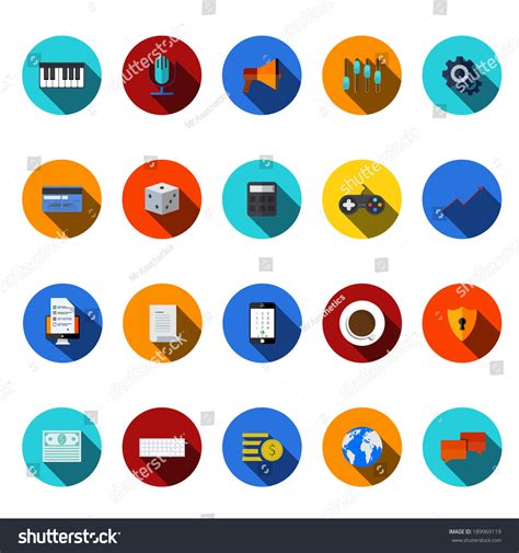 vector flat modern icons set technology stock vector