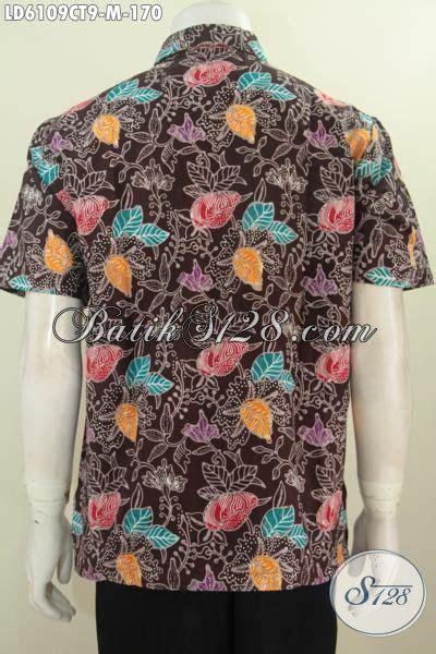 Koleksi Terbaru Kemeja Coklat Sw Kemeja Pria Katun Stretch 1 hem batik coklat motif bunga kemeja batik halus lengan