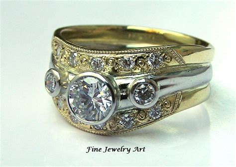 Unique Handmade Wedding Rings - crafted 18k gold platinum wedding ring band