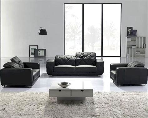 Modern Leather Sofa Sets Black Modern 3pc Leather Sofa Set 44lt123