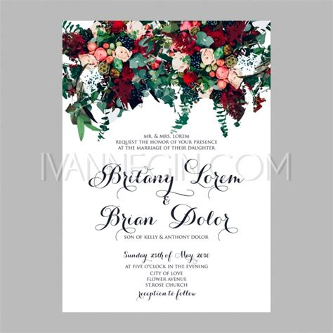template for flower arrangement card peony wedding invitation printable template with floral