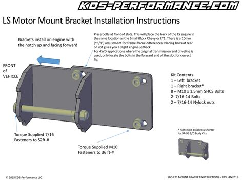 ls motor mount instructions kds performance