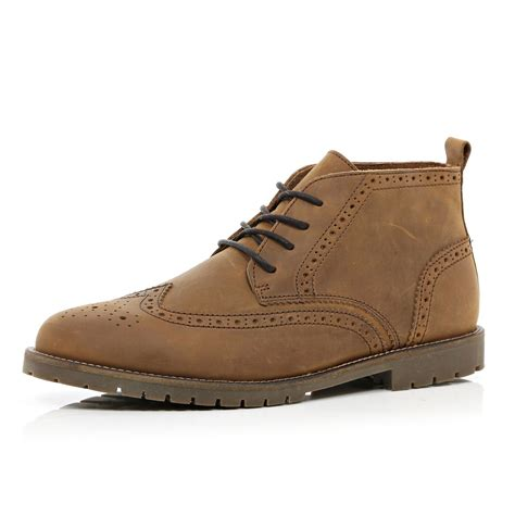 Island Shoes 2 river island brown cleated sole brogue boots in brown for lyst