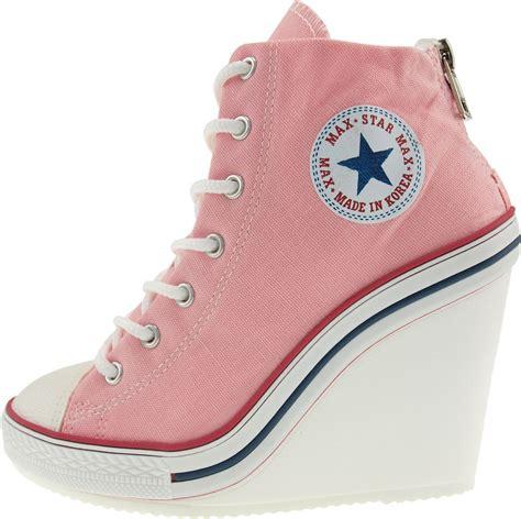 pink wedge sneakers maxstar womens 777 back zipper canvas high wedge heel