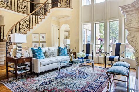 blue based redesign blends traditional  fresh decor