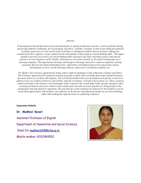research papers on e learning e learning and critical thinking