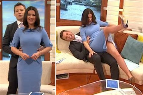 flying boat southton susanna reid legs go flying up in the air as ben shephard