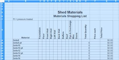 shed materials list spreadsheet