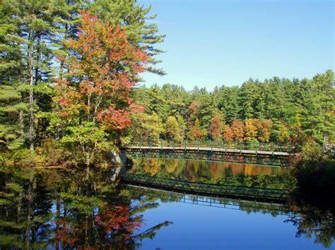 bridge and pond landscape in new hshire image free stock photo public domain photo cc0