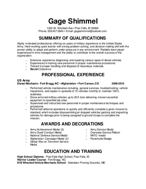 resume general diesel mechanic