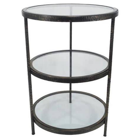 glass accent table threshold round 2 shelf metal and glass accent table