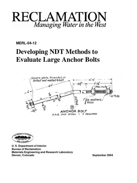 NDT Anchor Bolts Position Paper | Nondestructive Testing | Dam