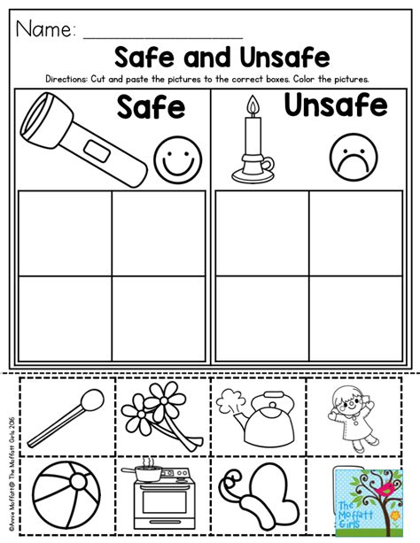 safe and unsafe great activity to help teach preschool