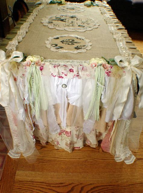 Burlap Shabby Chic Table Runner Shabby Chic Tables